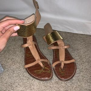 Sam Edelman sandals with gold ankle detail